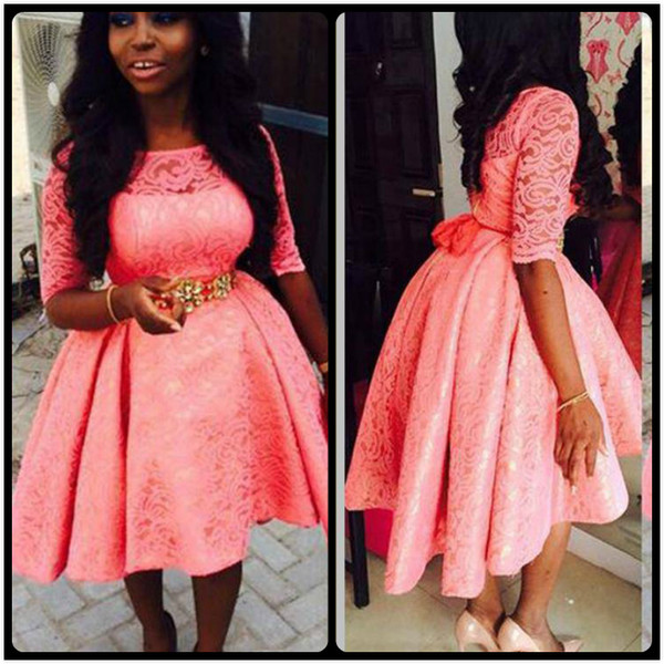 Elegant 2020 Coral Lace Prom Dresses Short High Low Gown Half Sleeve Crystal Belt Black Girl Prom Evening Party
