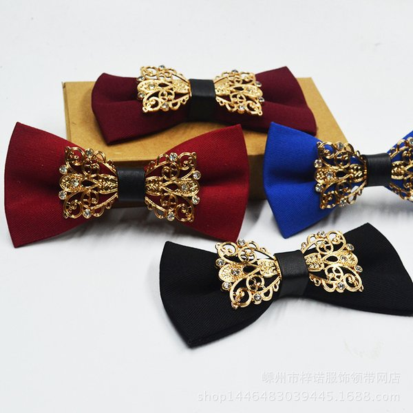 Men's fashion wedding banquet tie diamond metal pure cotton tie factory direct wholesale