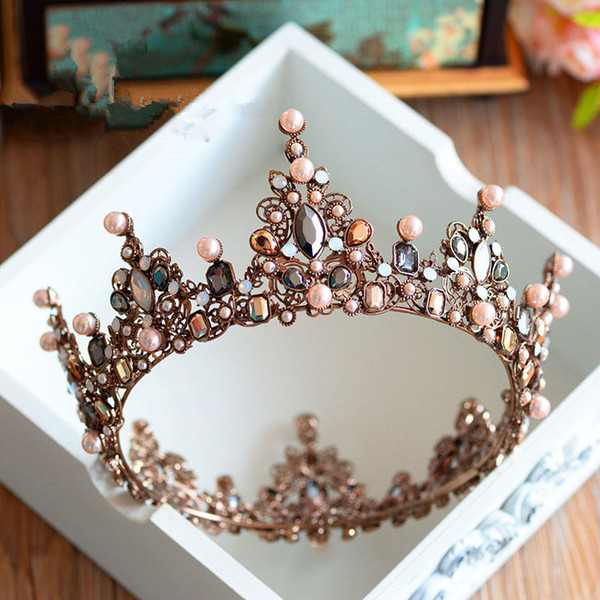 Vintage Wedding Bridal Crystal Tiaras Crowns Full Round Crown Rhinestone Pageant Hair Accessories Headband Beads Headpiece Prom Headdress