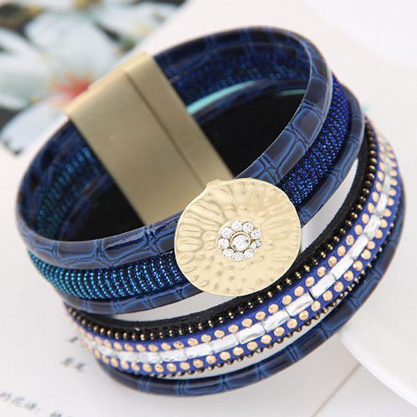 High End Hot Retro Vintage Accessories Leather Rhinestone Circle Rivet Snakeskin Lodestone Magnet Statement Women Multilayer Bangle Bracelet
