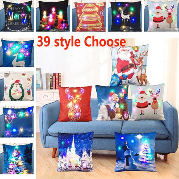best selling Creation Led Light Luminous Pillow Case Christmas Santa Claus Reindeer Pillow Case Sofa Car Decor Cushion 45*45cm WX9-62