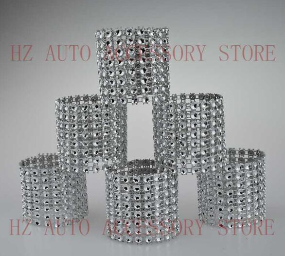 Free shipping 100 Rhinestone Bow Covers New 8 Row - silver and other 8 colors wedding chair sash napkin rings wedding suppliers
