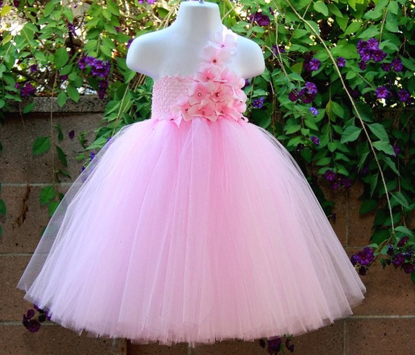 2018 Cute Girls Pink Flowers Tutu Dresses Kids 100% Handmade Crochet ...