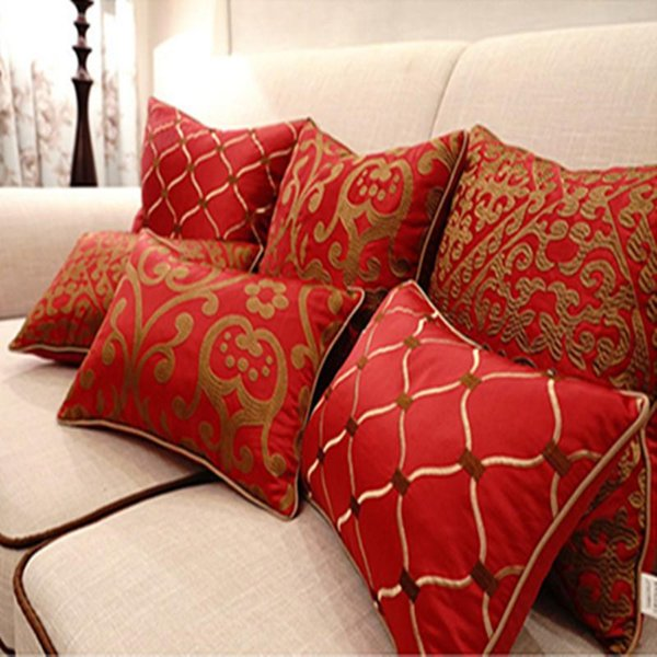 BZ156 Luxury Red Embroidery Cushion Cover Pillow Case Home Textiles supplies decorative throw pillows chair seat