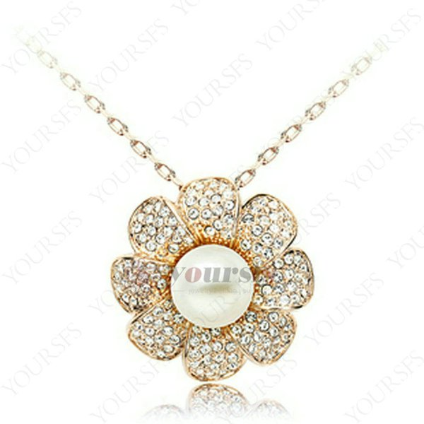 Yoursfs Brilliant Zirconia Sun Flower Pendant Cream Pearl Necklace Rose Gold Plated Vintage Statement Necklaces For Women Stunning Jewelry
