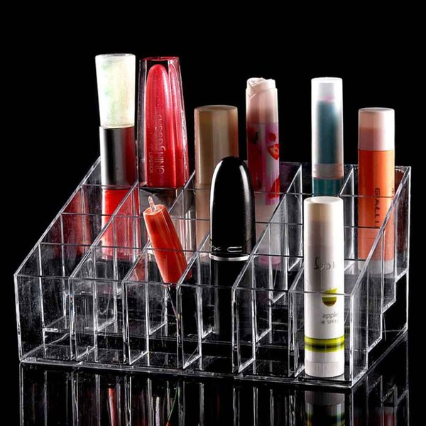 best selling 24 Trapezoid Clear Makeup Display Lipstick Stand Case Cosmetic Organizer Case Lipstick Holder Display Stand Clear Acrylic