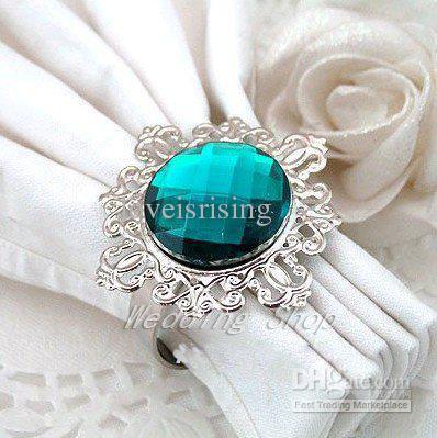 100pcs / lot di alta qualità Teal blu gemma acrilica stile vintage anelli tovagliolo nozze nuziale doccia favore portatovagliolo - prezzo più basso