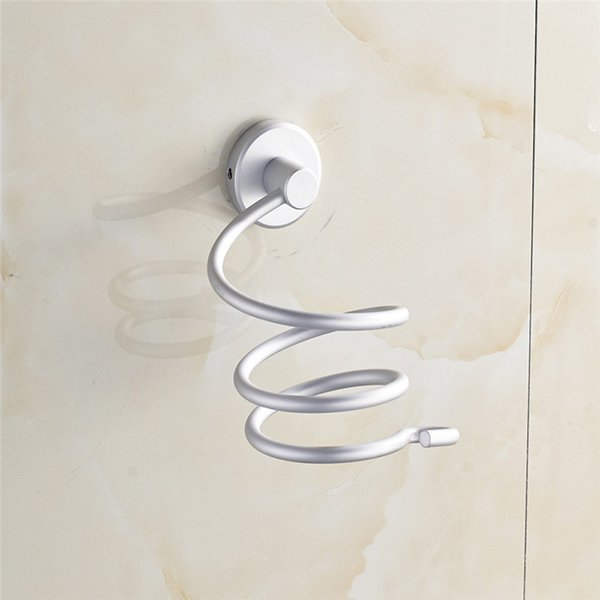 Wholesale-2016 Aluminum Bathroom Wall Shelf Wall-mounted Hair Dryer Rack Storage Hairdryer Support Holder Spiral Stand on sale