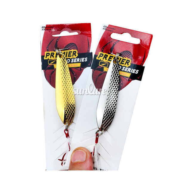 """Gold and Silver color Spoon Lures 7cm-2.8""""/16g-0.57oz Deep Diving Alloy spinnerbait Metal Cast Sequins Fishing Lures"""