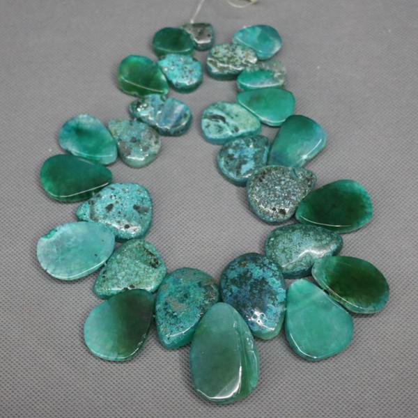 28pcs Natural Green Druzy Agate Slab Gemstone Beads, Energy Reiki Gems Women Slice Jewelry Necklace Pendant Drusy Druzy Waterdrop Shape
