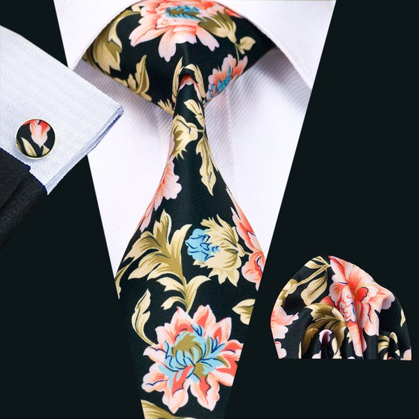 Mens Gravatas De Seda Preto Vermelho Branco Mix Cor Floral Business Wedding Neck Tie Set Incluem Abotoaduras Gravata Hankerchief Freeshipping N-1224