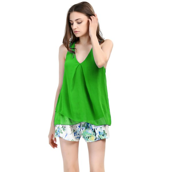 T-Shirt For Women 2016 summer High quality Women Blouses 5colors v neck Tops shirts For Women Clothing sleeveless pullover Chiffon Blouse