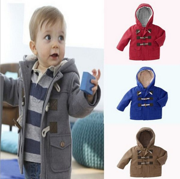 Baby Boys Cotton Hoodie Jacket Autumn Winter Long Sleeve Thicken Horn Button Coat Child Clothes Outwear Jacket Gray/Brown 5pcs/lot K1038