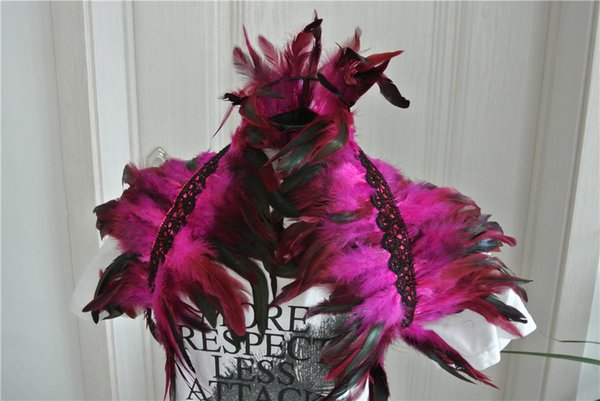 2 Layer Hot pink feathers SHAWL Shrug Shoulder Feather cape vintage capelet for Adult party supply festive decor