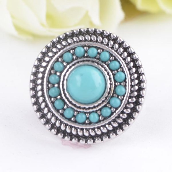 top popular New Arrival Noosa 18 MM Snap Buttons Charms Turquoise Pattern Fit Snap Bracelets Necklace Ring Earring Snap Jewelry 2021