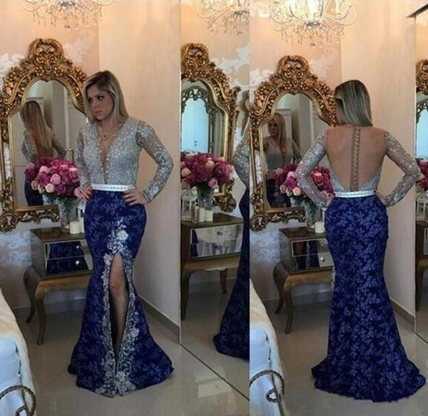 Chic Silver And Royal Blue Mermaid Prom Dress With Jewel Neck Covered Button Back Long Sleeves Lace Evening Gown Formal Dresses Evening Wear