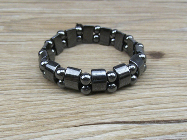 Wholesale-NAB031 1pc High Quality Men Women Black Natural Magnetic Hematite Therapy Arthritis Beads Bracelet 18cm