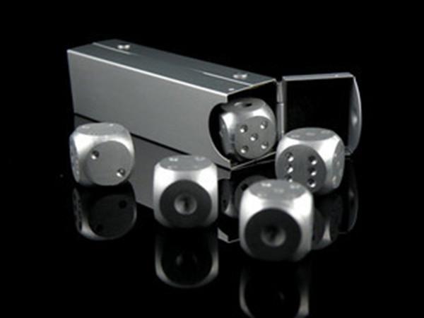 5pcs * 16mm Pure Aluminum Dice With Aluminium Alloy Rectangular Box Dice Set Party Drinking Games Gift Dices Sets Good Price 5pcs/set #S41