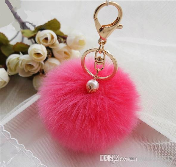 Nette Echte Gold Pelz Ball Keychain Pelz Keychain Pelz Schlüsselanhänger Perle Schlüsselanhänger Für Tasche Auto Keychain