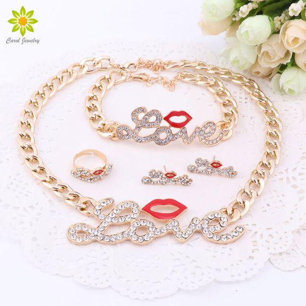 Sistemas de la joyería de las mujeres de la manera Labios rojos lindos chapado en oro de cristal AMOR de la carta grande colgante, collar de la pulsera pendientes del anillo