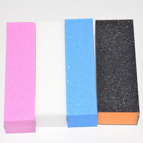 Wholesale-4pcs Professional Nail File Buffer Nail Files para herramientas de manicura Shape Nails Buffing Block Sand Sponge Nail Art Tips Sanding