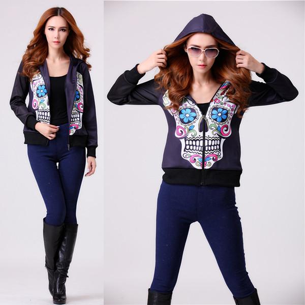 Ladies Women 3D Skull Print Zip Up Hoody Black Zipper Sweatshirt Hoodies Zipper Jacket Top Overcoat Outerwear Hoodies Tracksuit