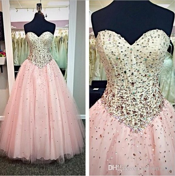 Pink Sweetheart Quinceanera Ball Gowns Prom Dresses 2017 Backless Tulle Plus Size Evening Dress Lace up Beaded Celebrity Dress