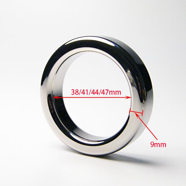Male Metal Cock Ring 9mm Thicken Stainless steel Penis Delay ring Inner diameter 38 41 44 47mm Optional