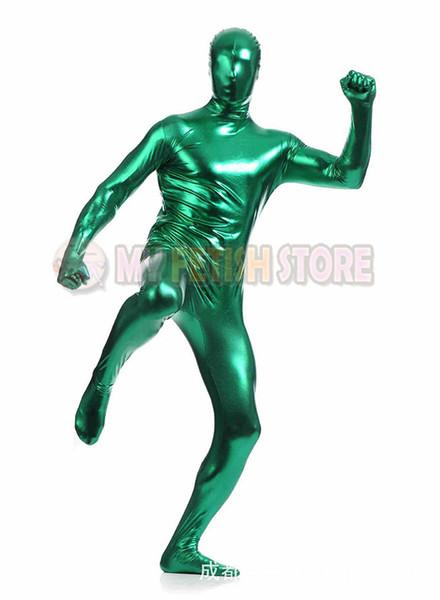 (jxy005) shiny metallic zentai Suit for Men/women front open halloween performance zentai Catsuit costume