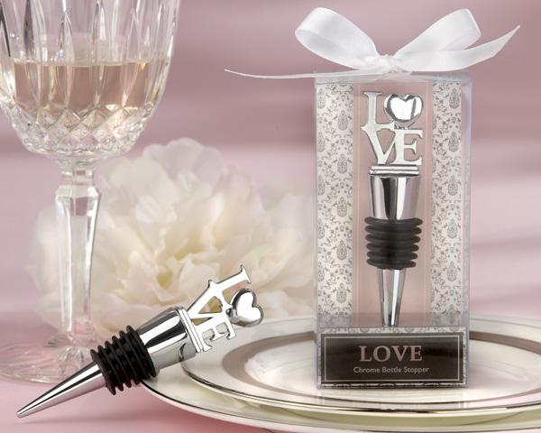 (10Pcs/lot) Classic and Elegant Wedding and Party Favors of Love Chrome Wine Bottle Stopper Wedding Gifts For Guests and Bridal showers