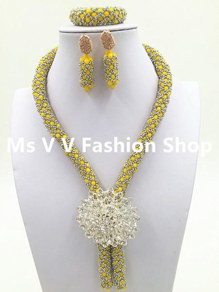 2019 luxury silver Yellow Wedding Necklace Set African Braid Crystal Beaded Jewelry Set Single Row Lady Jewelry Set Free Shipping