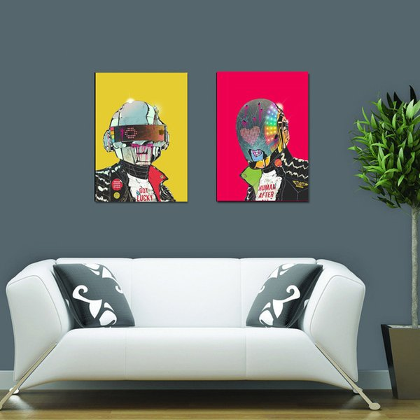 2pcs Unframed Daft Punk Music Band Helmet Mask Art Print Poster Abstract Wall Picture Canvas Painting Home Decor