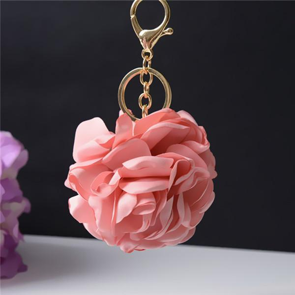 13 Colors Cloth Art Flower Metal Keychain Keyring Car Keychains Purse Charms Handbag Pendant Best Gift