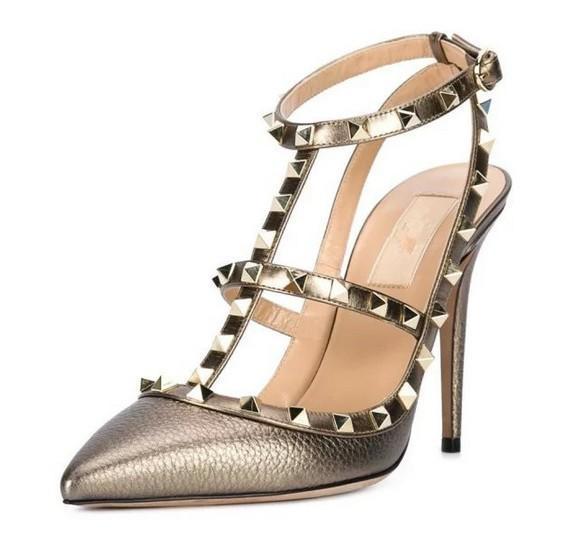 fait sur mesure * de haute qualité! u564 34/40 rivets en cuir véritable or pointes appartements talons v pompes chaussures de designer de luxe 7,5 / 10cm 2016