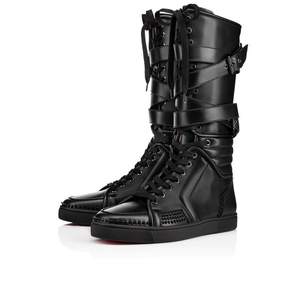 New Items!Mens black genuine leather sports shoes cool male red bottom Sporty Dude Flat zipper with nails,buckle knee boots unisex 35-46