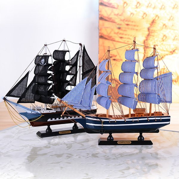 Mediterranean Style Wooden Sailboat Figurine Handmade Bois Sailing ship Model Home Decoration Christmas Wood Craft gift