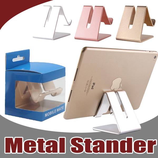 Universal Aluminum Metal Cell Phone Tablets PC Desk Stand Holder Support Bracket Kickstand For iPhone X 8 Plus 7 Samsung With Retail Package