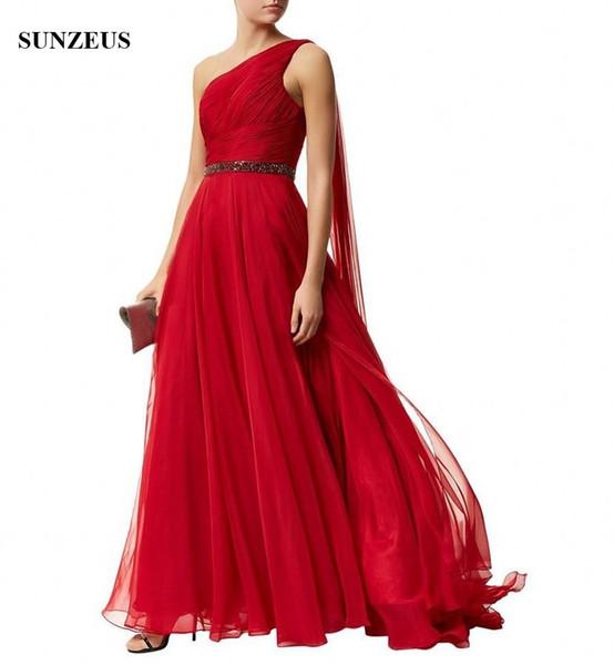 Vestidos De Noite Baratos Vestido Longo Vermelho Um Ombro Vestido De Noite Longo Chiffon Vermelho Vestidos De Festa Plissado Vestidos Formais Uma