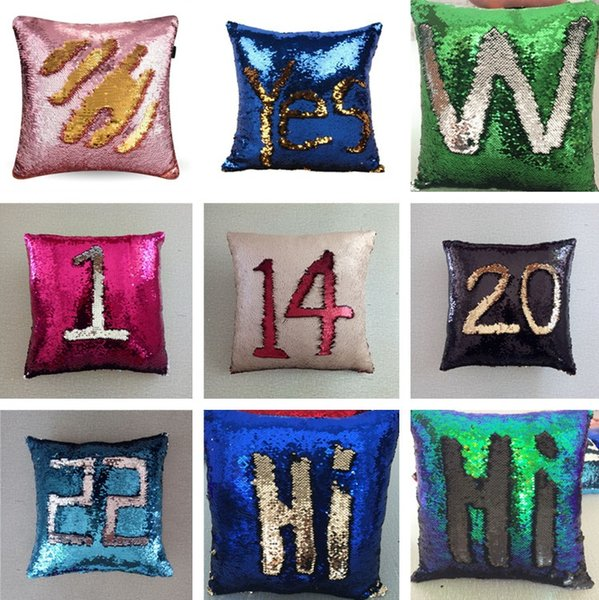 New 38 Colors 40*40cm Doule-color Magic Reversible Mermaid Sequins Pillow Cover Glitter Pillow Cover Throw Pillow IC859