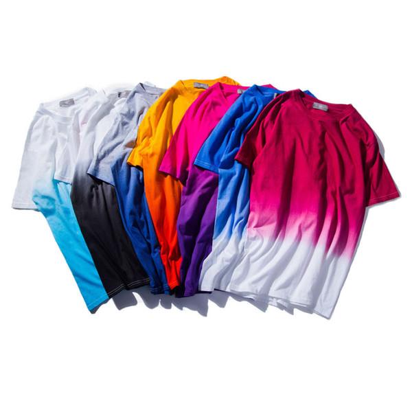 Оптовая продажа-2016 Новый унисекс Harajuku городской одежды футболки галстук краситель цветной постепенный футболка смешные футболки 100% хлопок тройники для мужчин и женщин