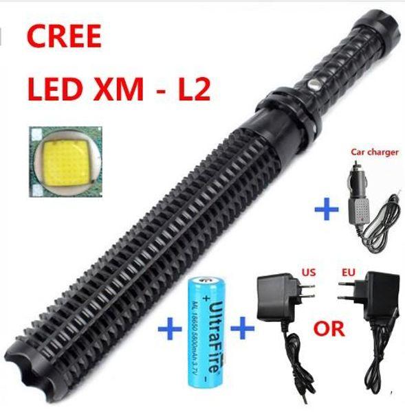 2016 New Arrival Powerful led flashlight 18650 CREE XM L2 self defense Patrol LED rechargeable flash light