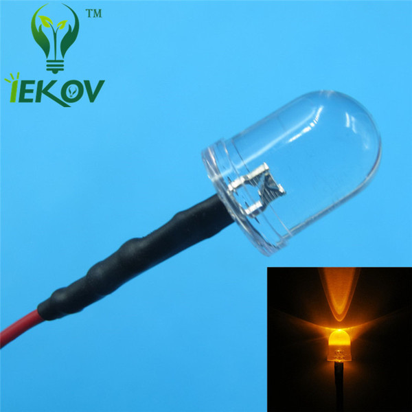 100pcs 10MM 12v Pre-Wired Resistor Orange Leds Round Top 12V DC 20cm Emitting Diode Led Lamp Light For car DIY HOT SALE Retail