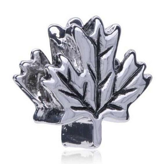Wholesale Rhodium Plated Large Hole Maple Leaf Shaped European Charm Spacer Metal Bead Fit Pandora Bracelet
