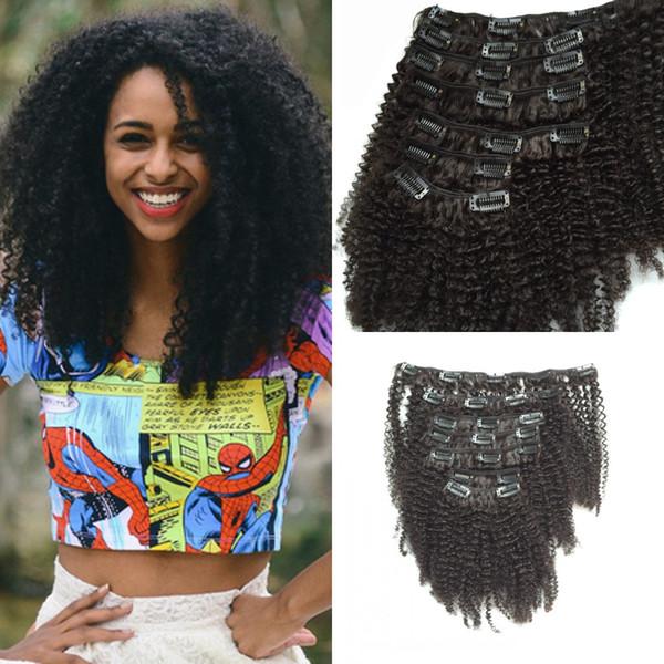 Afro Crespo Encaracolado Cabelo Humano Peruano Virgem Não Transformados Kinky Curly Hair Tece clipe em Preto Natural 1b # Remy Humano Peruano cabelo