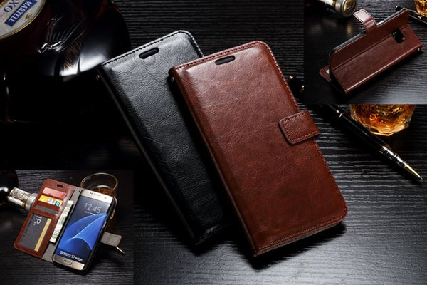 S7 Retro Flip Stand Wallet PU Leather Case With Photo Frame Slot Card Slots For iPhone 5 6 6S Plus Samsung S4 S5 S6 Edge Note 4 Note5