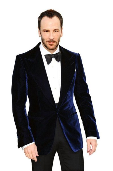 Tailored Dark Blue velvet wedding suits for men peak lapel /Groom Wear tuxedos (Jacket+Pant+tie)Free Shiping