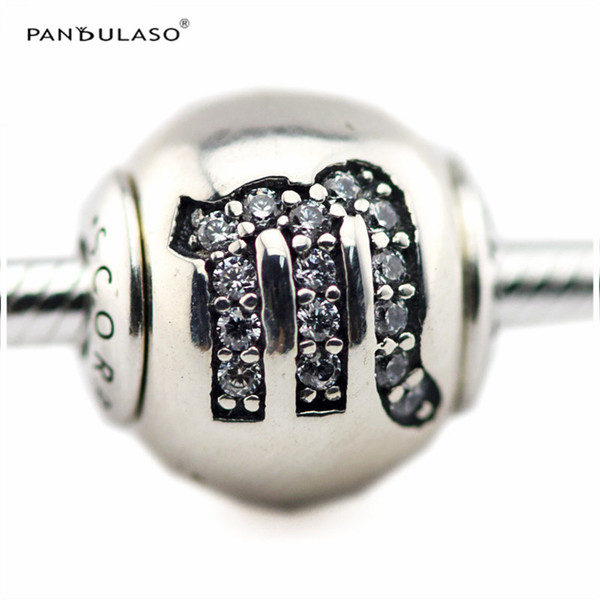 SCORPIO with Clear CZ Charm Essence Collection Fits Pandora Bracelets 2.5mm Hole Sterling-Silver-jewelry Beads For Woman Wholesale