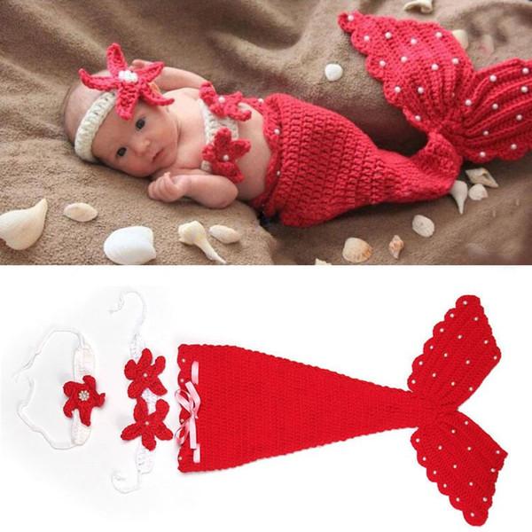 Hot Crochet Knit Newborn Mermaid Tail Costume Baby Photography Props Clothes Animal Design Newborn Studio Accessories