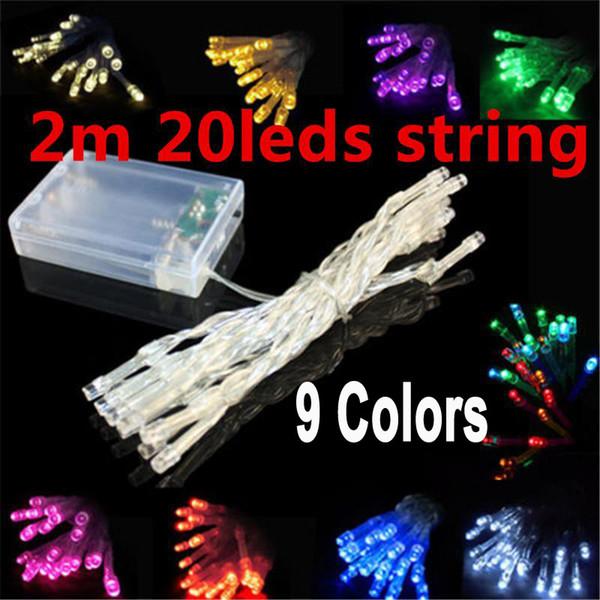 Outdoor Indoor Festival String Lichter 2 Mt 20 LED Bunte LED Lichterketten Batteriebetriebene Hochzeit Weihnachtsschmuck Streifen LED