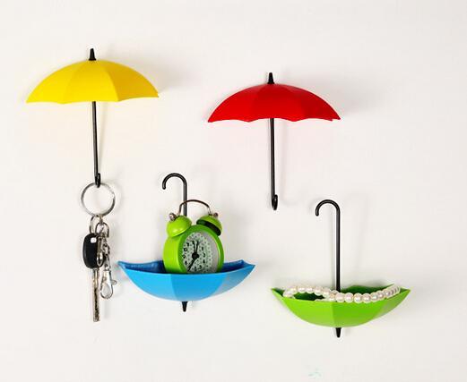 3 Pcs / Pack Décoratif Coloré Parapluie Mur Crochet KEY Coin Épingle À Cheveux Titulaire Mur Monté De Stockage Rack pour Salle De Bains Cuisine Couloir